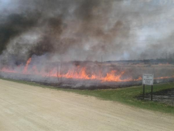 Photo from prescribed burn on the Dakota County Fairgrounds conservation easement prairie.