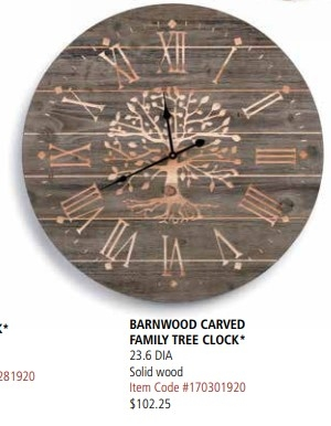 Barnwood Carved Family Tree Clock