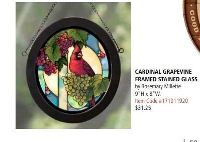Cardinal Framed Stained Glass