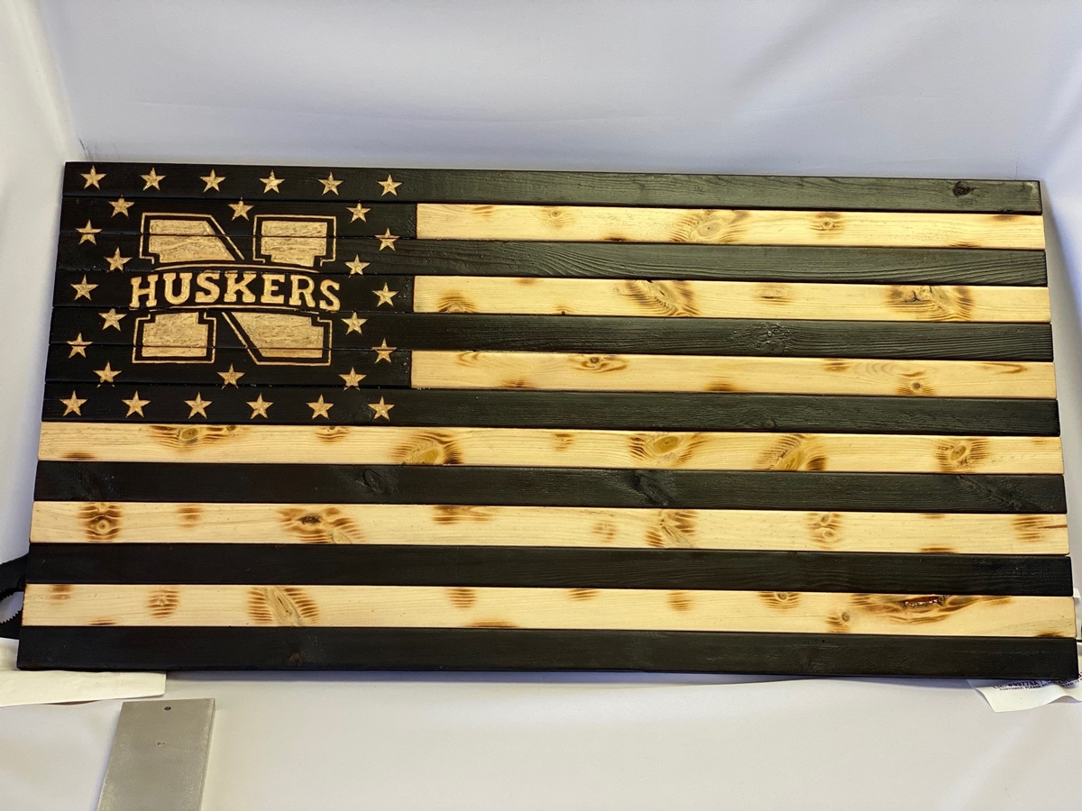 Handmade Wooden Husker Flag created by Talon Krebs of TK Rustic American Flags