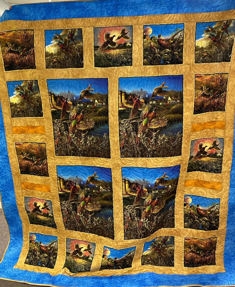 Handmade Pheasant Quilt beautifully created by Diane Ahlers of Clearwater.