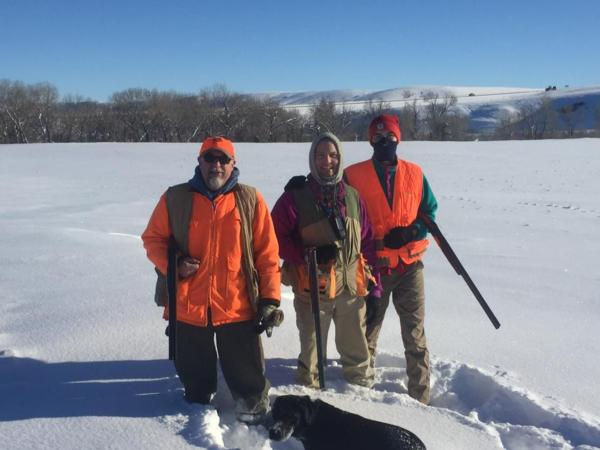 Headwaters Chapter members Doug Williams, Kirk Miller and Mark Studt (L to R), taking a cold day hunt on the Teton River property.