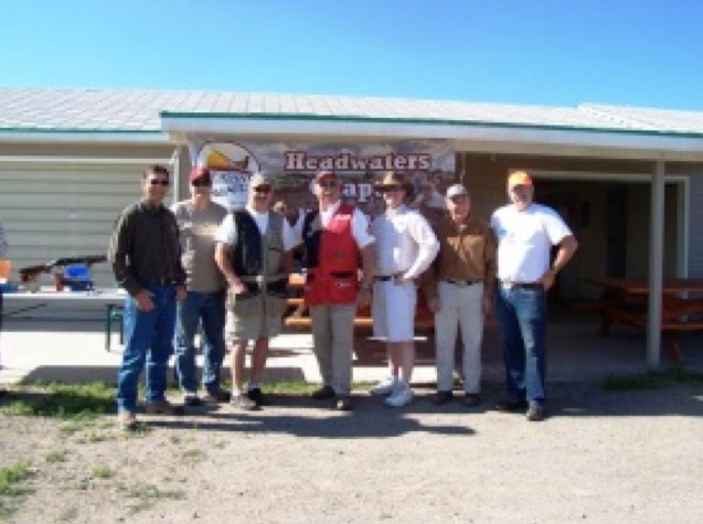 Headwaters members pose for a photo at the local trap club for a Tom Knapp trap shooting demonstration