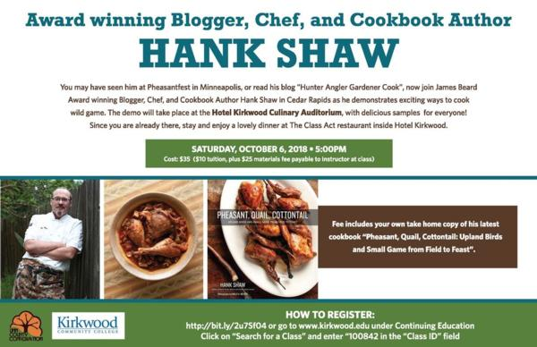 Chef and Blogger Hank Shaw - LIVE in Des Moines (see link in Description to register)