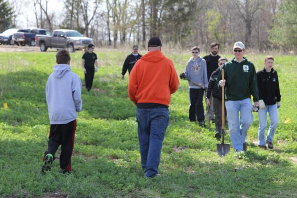 Efforts organized by Jeff Pitlik and Wade Kisner of Linn County PF, working with local Hawkeye Area Boy Scouts with tree planting projects in May of 2014