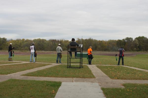Members of the Corridor Clay Crushers team at the 2017 October Corridor Clay Crushers tournament - 2nd Annual Pheasants Forever shootout hosting 9 collegiate trap teams at Otter Creek in Cedar Rapids Iowa