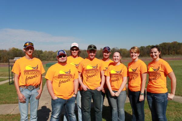 Student athletes from Kirkwood College, Mt Mercy University & Wartburg College (representing the October Corridor Clay Crushers team) at the 2017 October tournament - 2nd Annual Pheasants Forever shootout.  This team's event and PF of Linn County hosted 9 collegiate trap teams at Otter Creek in Cedar Rapids Iowa
