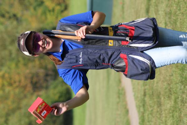 Emily Klein of Tiffin and Hawkeye Community College student athlete the 2017 October Corridor Clay Crushers tournament - 2nd Annual Pheasants Forever shootout hosting 9 collegiate trap teams at Otter Creek in Cedar Rapids Iowa