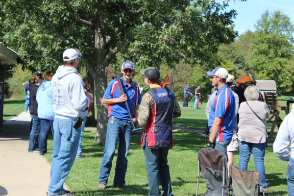 student athletes at the 2017 October Corridor Clay Crushers tournament - 2nd Annual Pheasants Forever shootout hosting 9 collegiate trap teams at Otter Creek in Cedar Rapids Iowa