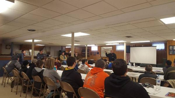 2018 January 13 & 14, the Linn County Pheasants Forever and the Ely American Legion hosted an Iowa Hunter Safety Class with the Iowa DNR and Johnson County Conservation employees from Kent Park.  The class was attended by students ranging in age from 9 years old to 50.  The breakfast, lunch and snacks were provided to the students courtesy of Linn County Pheasants Forever who is dedicated to area youth and the education of our organization that focuses on conservation of pheasants, quail and other wildlife through habitat improvements, public awareness, education, and land management policies and programs.