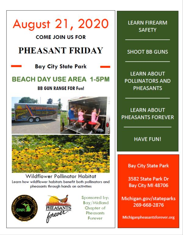 Pheasant Fridays - Beach Day Use Area from 1 - 5 PM