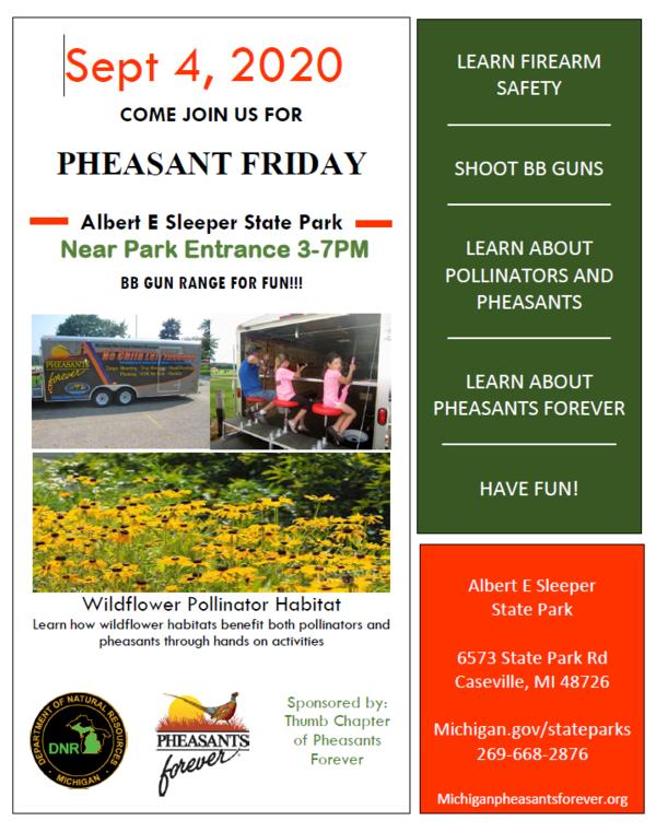 Pheasant Fridays - Near Park Entrance from 3-7 PM