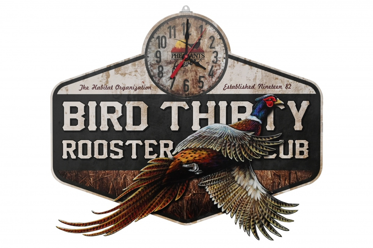 PF National package, Bird Thirty sign and clock
