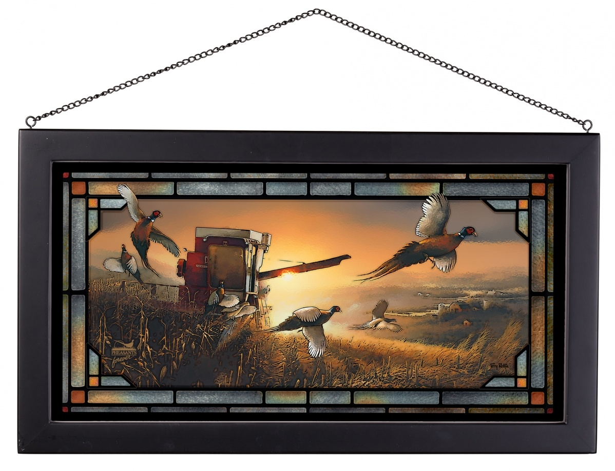 PF National package, Evening Surprise with stained glass border by Terry Redlin