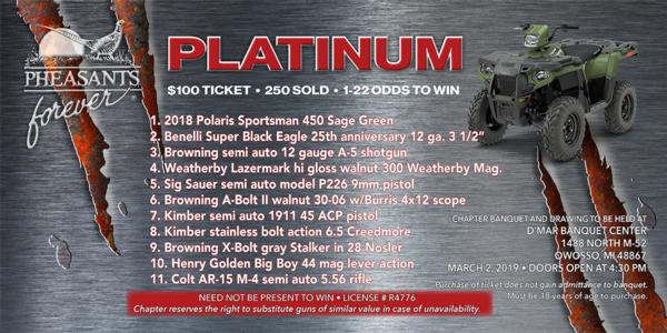 Pheasants Forever Chapter 399 2019 Excalibur - Platinum Spring Banquet