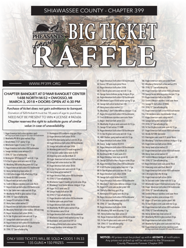 big ticket raffle shiawassee county pheasants forever chapter 399