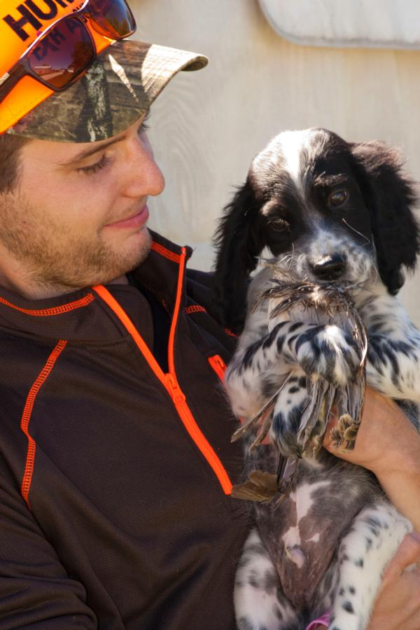 Don't they look cute together?  Mr. Slibaugh took home this new hunting dog in training