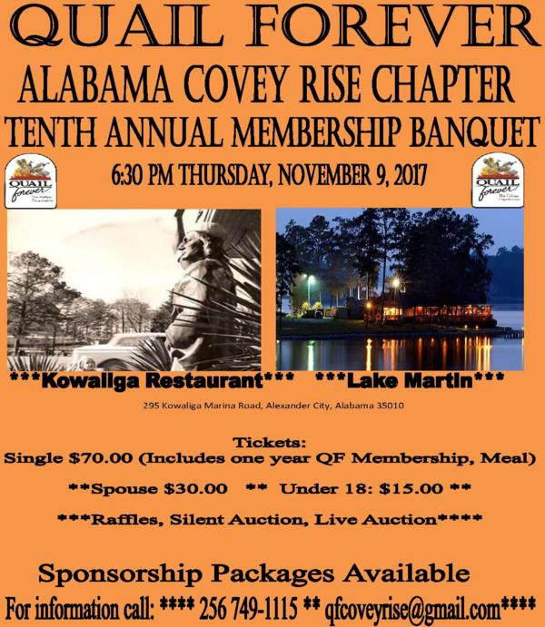 Alabama Covey Rise Chapter of Quail Forever - Banquet Page