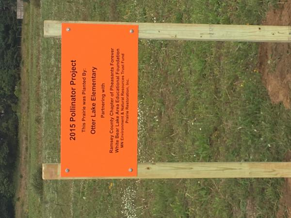 Sign designating the Otter Lake Elementary Prairie.