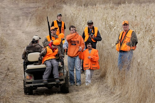One of the hunting parties headed to the field